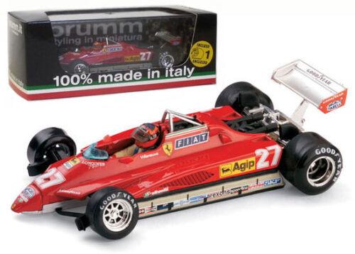 Brumm r267-ch Ferrari 126c2 Turbo San Marino Gp 1982-G Villeneuve 1//43 Escala
