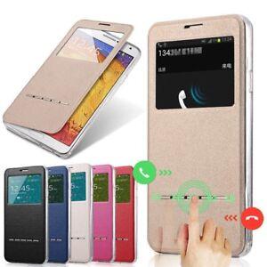 Flip-Window-View-Funda-de-cuero-Smart-Cover-Stand-para-iPhone-Samsung-telefono-D
