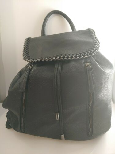Expressions NYC Black Leather Backpack o94