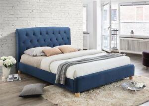 Image Is Loading Brompton Upholstered Headboard Bed Frame 120cm 4FT Blue
