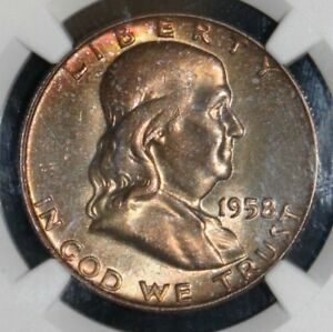 1958-D-MS-66-Full-Bell-Line-Rainbow-Toned-Franklin-Silver-Half-Dollar