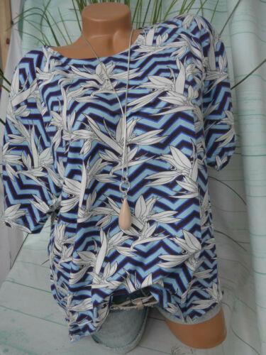 M bis XXL blau weiß gemuster Kurzarm Fransa Bluse Shirt Damen Gr 743