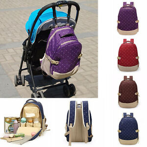 Women-Mother-Backpack-Toddler-Baby-Pad-Diaper-Changing-Bags-Dot-Shoulder-Bags