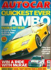 Autocar 24th November 1999, Diablo, Cadillac, Smart, Corvette, BMW 330d, Z8