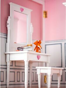 Swell Details About White Wood Vanity Table Desk Stool Furniture For 18 Inch American Girl Doll Evergreenethics Interior Chair Design Evergreenethicsorg