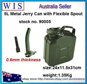 5L-Metal-Jerry-Can-Fuel-Engine-Diesel-Petrol-Oil-Storage-Container-amp-Spout-90005