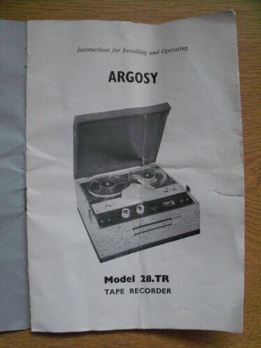 Instructions Reel To Reel Tape Recorder Argosy Model 28 Tape