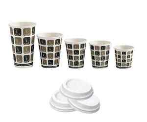 Details about Disposable Takeaway Café Mocha Paper Cups & Lids (4oz8oz10oz12oz16oz)