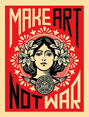 MAKE ART NOT WAR PRINT BY SHEPARD FAIREY urban flower girl obey famous poster