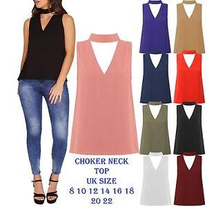 New-Womens-Cut-Out-Plunge-V-Neck-collar-Choker-High-Neck-Blouse-Shirt-Top