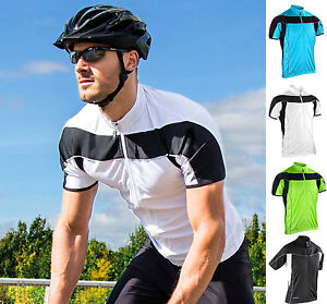 Mens-Bike-Cycle-Top-Jersey-Full-Zip-Performance-Fabric-Breathable-Wicking