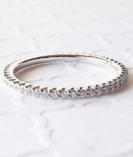0.20 Round Cut Diamond 14 k White Gold 1.00 mm Eternity Band