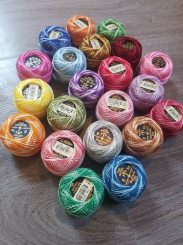 Lot Of 21 Vintage Anchor Multicolored Pearl Cotton #8 Weight Color Fast OldStock