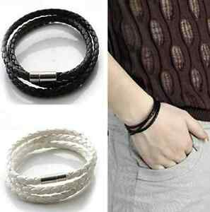 Men-Women-Leather-infinity-Interlaced-Cuff-Bangle-Wristband-wrap-Bracelet-hs-one