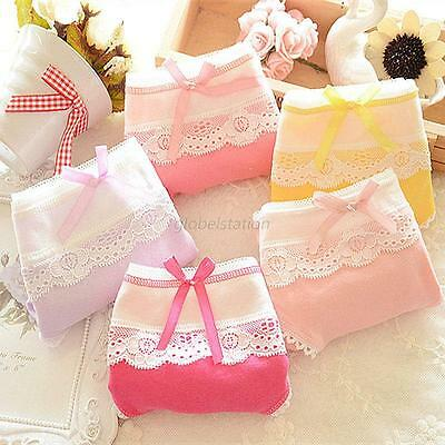 Lovely Women's Multi-Color Cotton Soft Lace Bow-knot Underwear Briefs Knickers