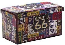 Grandi Ottomana Pieghevole ROUTE 66 stoccaggio letto aperto Sedile Toy Box retrò american