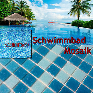 schwimmbad mosaik blau pool glasmosaik fliesen whirlpool 252 0402 papier 1matte ebay. Black Bedroom Furniture Sets. Home Design Ideas