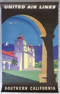 Original-vintage-Southern-California-United-Airlines-Poster-Santa-Barbara