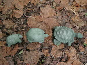 Cement-Turtle-Family-of-3-Garden-Art-Green-Concrete-Statue-Lot-4-5-034-6-5-034-amp-7-5-034