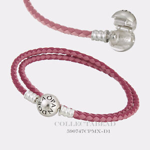 c7afa3b89 Image is loading Pandora-Sterling-Silver-Mixed-Pink-Woven-Leather-13-