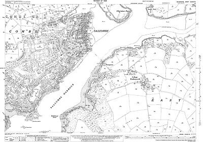 Salcombe old Devon map 136-15-1936