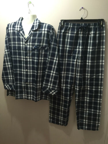 BNWT Mens Sz 3XL Coast Clothing Co Navy White Check Long Summer Pyjamas RRP $60