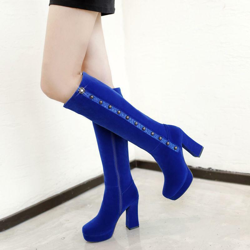 Fashion Women's Faux Suede Platform shoes Block High Heel Zip Knee High Boots
