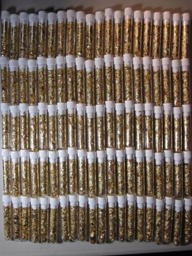 5 LARGE GOLD LEAF FLAKES VIALS LOT FILLED FULL 24K YELLOW LUSTER NO PURE WATER