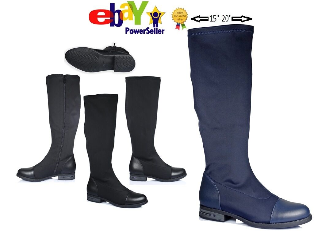 WOMENS WIDE MID CALF LOW HEELS FLATS STRETCH FIT ELASTICATED ZIP UP SIZE BOOTS
