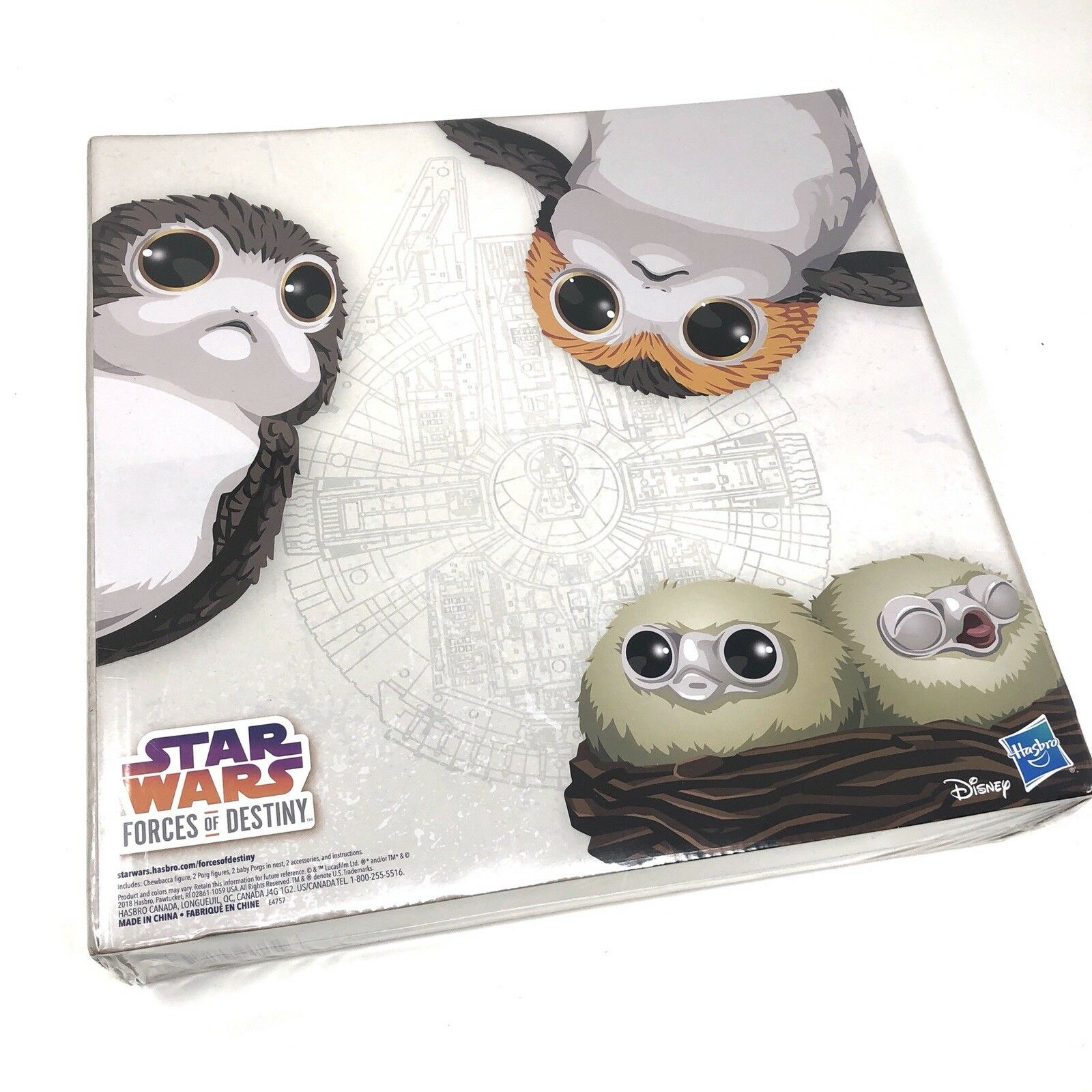 STAR WARS Forces of Destiny Chewbacca and Porgs Set SDCC 2018 Hasbro Exclusive