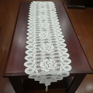 """White Vintage Lace Table Runner Hand Crochet Dresser Scarf Oval Wedding 11/""""x35/"""""""