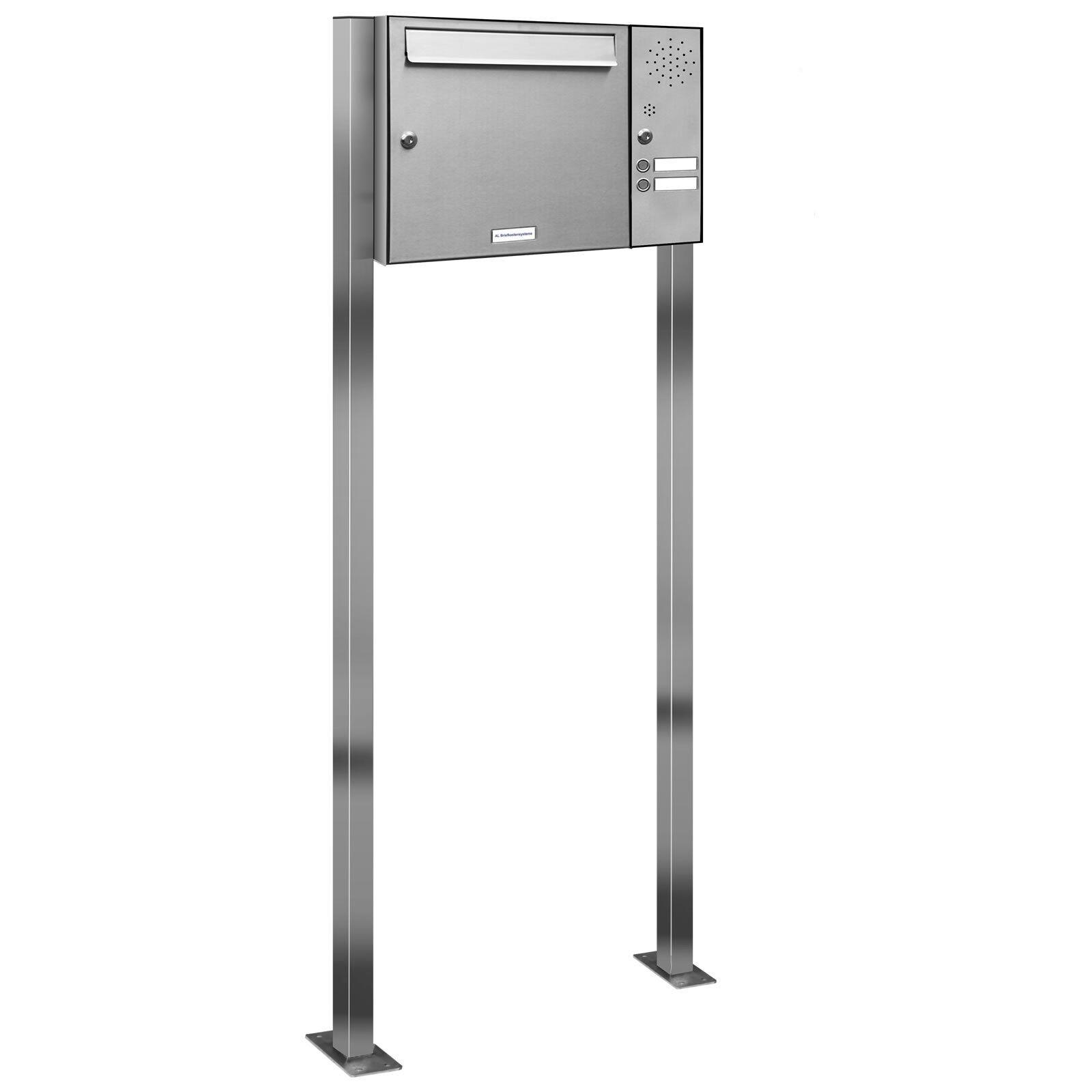 1 er Premium V2A Edelstahl Stand Briefkasten Anlage Postkasten mit 2 Klingeln