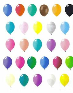 "24 latex balloons 12/"" when  inflated solid colors"