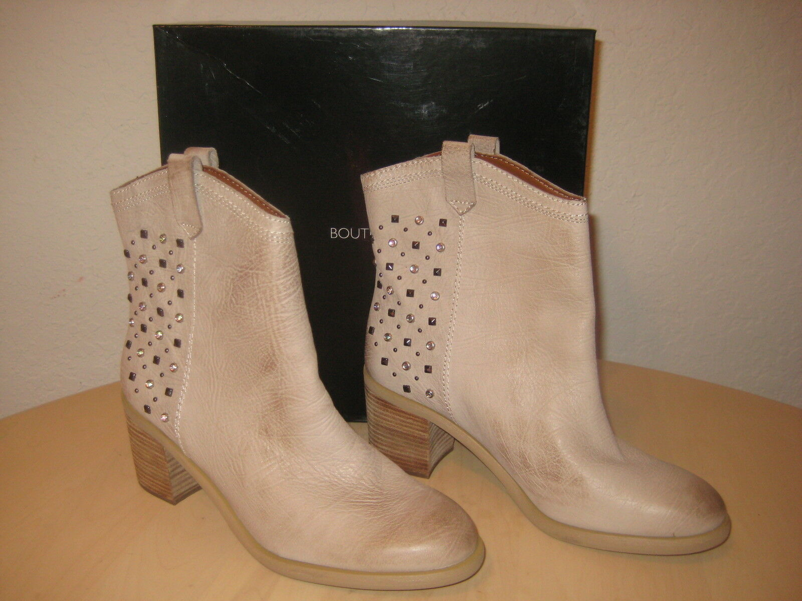 Boutique 9 schuhe 7.5 M damen New Conspire Light Taupe Leather Mid Calf Stiefel