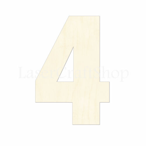 Silhouette Wooden Cutout Shape Wooden number 4 Tags Laser Cut #2067