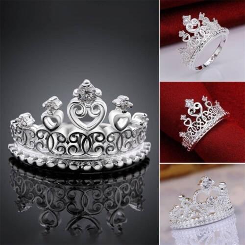Women Ladies Elegant Princess Crown Silver Alloy Zircon Crystal Rings Jewelry