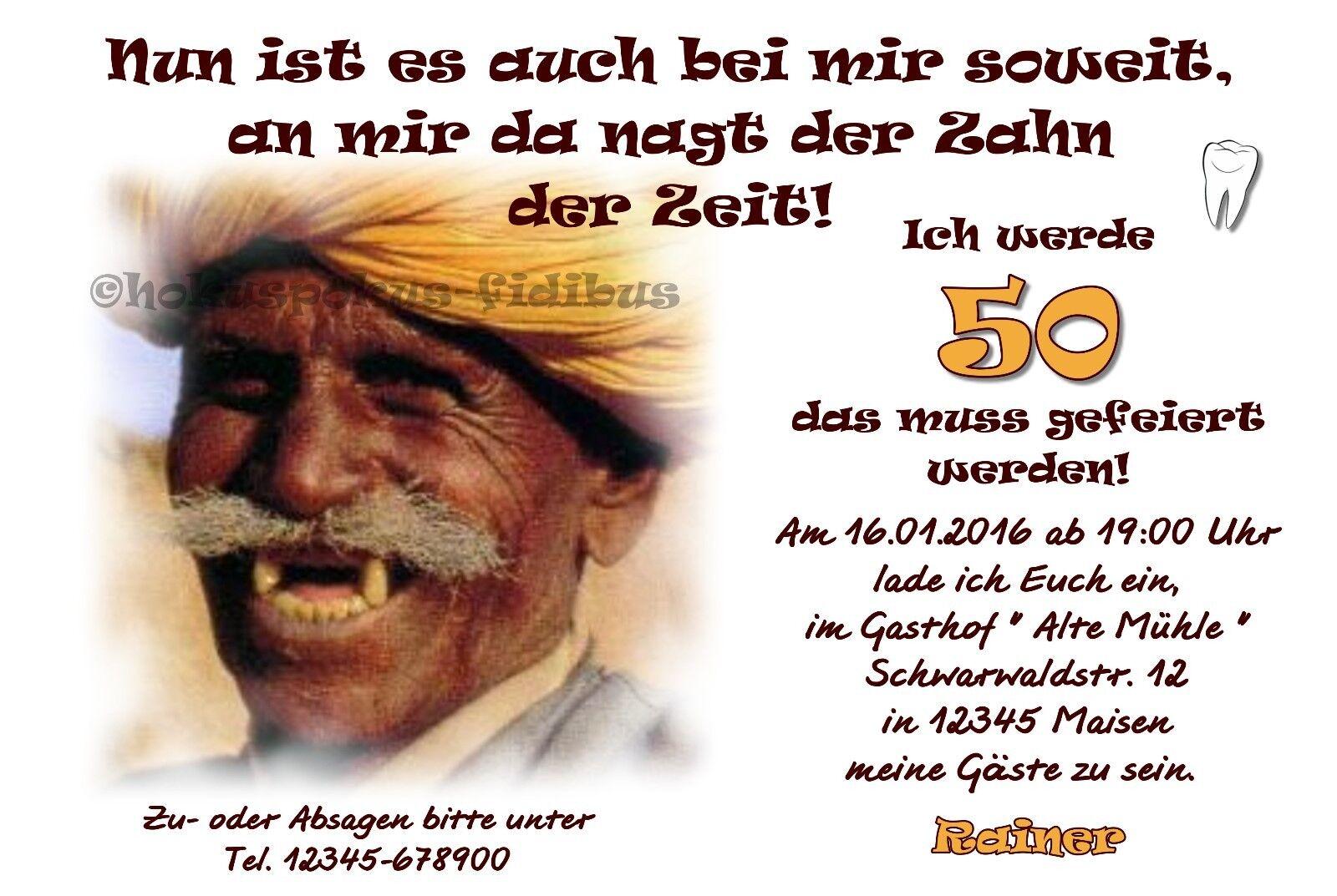 50 Einladungskarten Geburtstag ZAHN DER ZEIT Einladungen jedes Alter 40 60 70 80