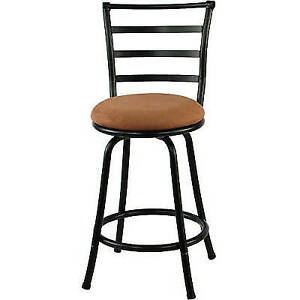 Swivel Bar Stool Black Metal Kitchen Counter Height 24 Inch Dining