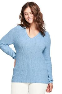 074536941c3 LANDS  END Plus Size 3X Cozy Lofty V-neck Sweater NWT  80