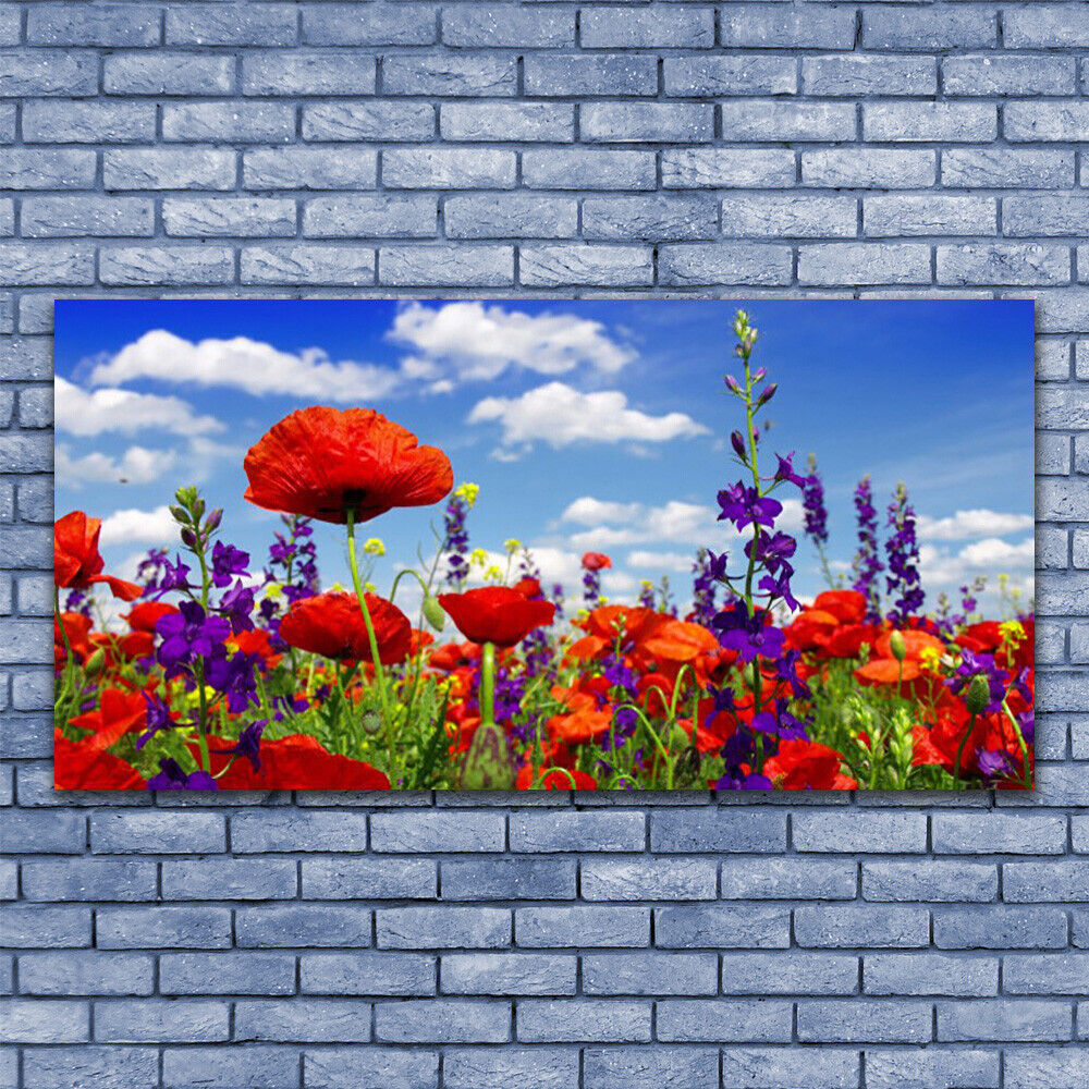 Glass print Wall art 140x70 Image Picture Tulips Nature