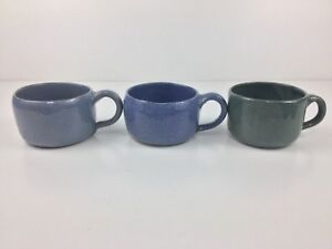 Bybee-Pottery-THREE-3-Cups-Mugs-Cobalt-Blue-Green