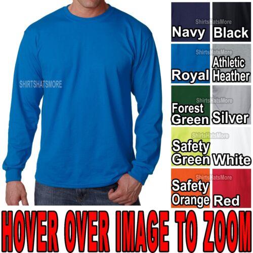 Mens Long Sleeve T-Shirt 100/% Poly Moisture Wicking FEELS LIKE COTTON S-XL 2X 3X