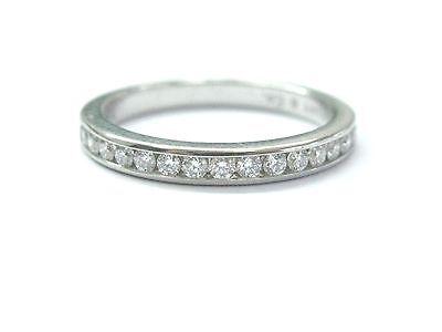 Tiffany & Co Platinum Diamond Channel Set Band Sz 6 2.5mm .24CT PAPERWORK