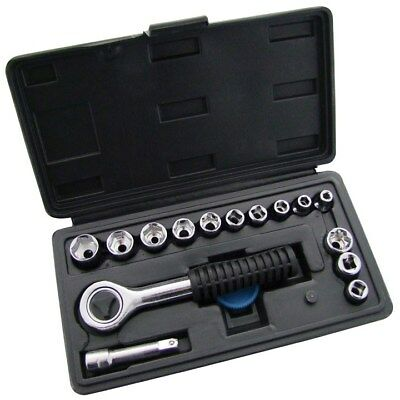 "16pc 1/4"" Drive Socket Set Ratchet Storage Case Tools Kit Metric Sockets New Goed Verkopen Over De Hele Wereld"