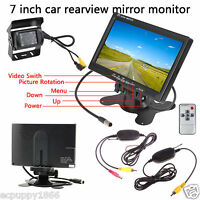 "7"" TFT LCD Monitor+Wireless Car Rear View Back Up Camera Kit IR LED Night Vision"