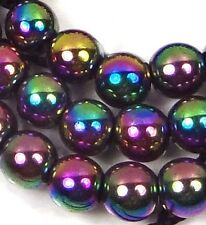 """6mm Hematite Metallic Coated Round Beads 16"""" -  Peacock rainbow"""