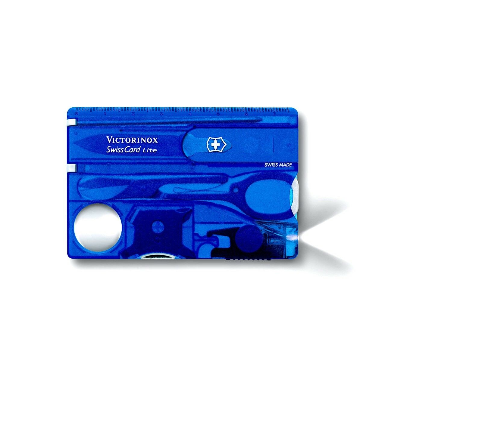VICTORINOX SwissCard Lite   SAPHIRE blueE   White  LED Light - Made in SWITZERLAND  outlet on sale
