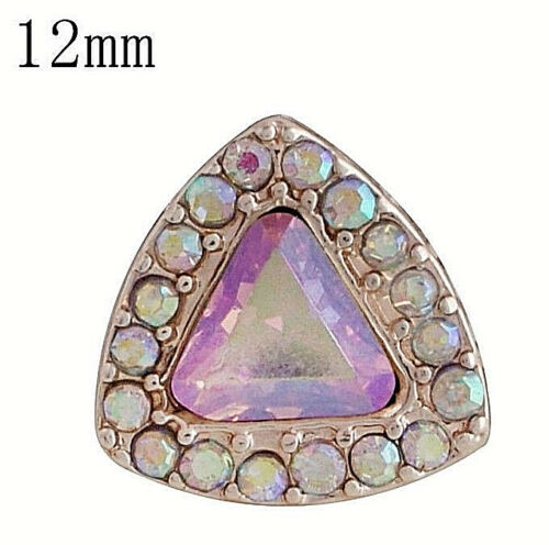 Gold Opal Pink Rhinestone Triangle 12mm Mini Petite Charm For Ginger Snaps