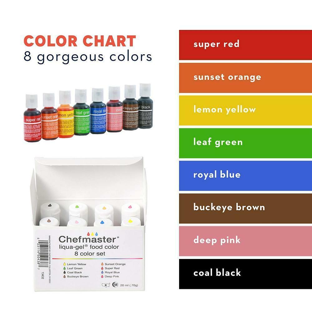 20 Pack Vibrant Food Coloring Drops .20 FL Oz/20 Ml Edible Liqua GEL for  Cake Dec