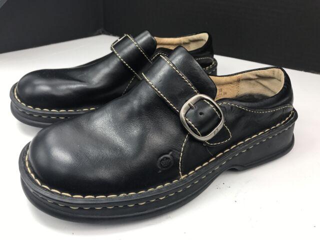 Platform Clogs Leather Side Zip Shoes